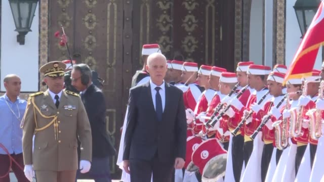 tunisia's new president kais saied arrives at the presidential palace in carthage after taking the oath of office following his surprise election... - carthage tunisia stock videos & royalty-free footage