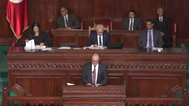 tunisia's parliament on thursday approved prime ministerdesignate elyes fakhfakh's new coalition government lawmakers voted 129 to 77 in favor of... - legislator stock videos & royalty-free footage