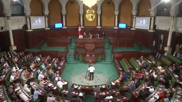 tunisia's prime minister-designate hichem mechichi wins a confidence vote during a session at tunisian parliament in tunis, tunisia on september 2,... - tunisia stock videos & royalty-free footage