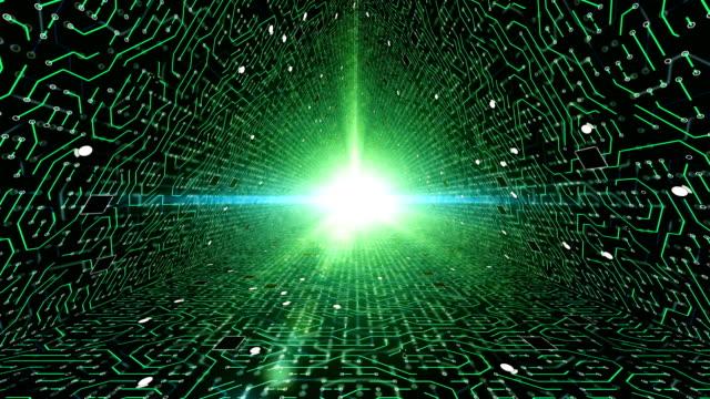 vídeos y material grabado en eventos de stock de conexiones de red de placa de circuito de túnel - electrón