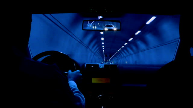tunnel driving (blue) - exit sign stock videos & royalty-free footage