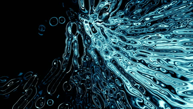 A tunnel of abstract fluid forms (Loop).