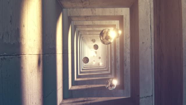 vídeos y material grabado en eventos de stock de un túnel de arcos de hormigón con esferas de vidrio flotando en él - pared de cemento