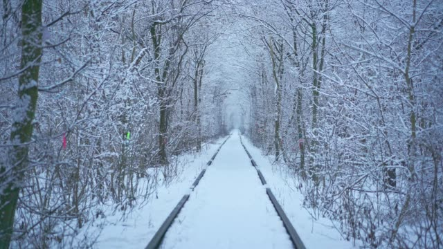 vidéos et rushes de tunnel de l'amour en hiver - tunnel