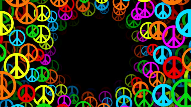 Tunnel of Multicolored Peace Symbols (Loopable)