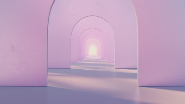 a tunnel of pink round arches with a light at the end - arch stock videos & royalty-free footage