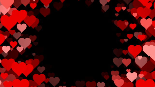Tunnel of scrolling Hearts over Black Background (Loopable)