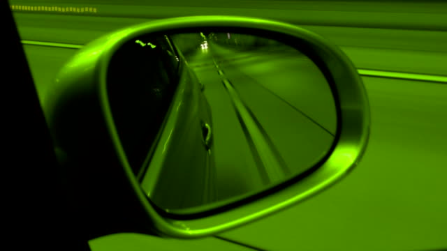 tunnel through mirror (green) - overtaking stock videos and b-roll footage