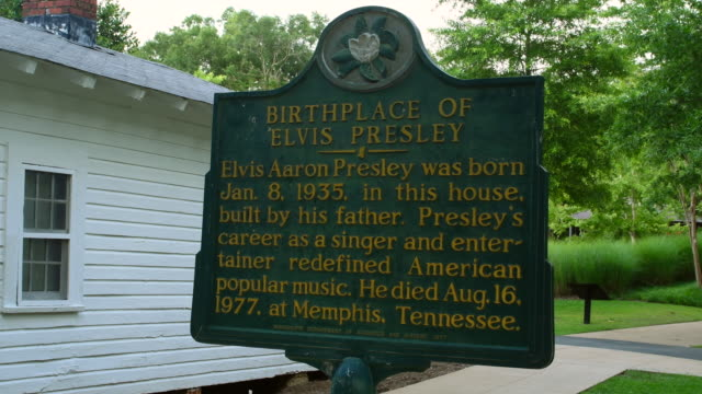 tupelo mississippi elvis presley birth home sign in small town of the king of pop elvis - michael jackson stock videos and b-roll footage