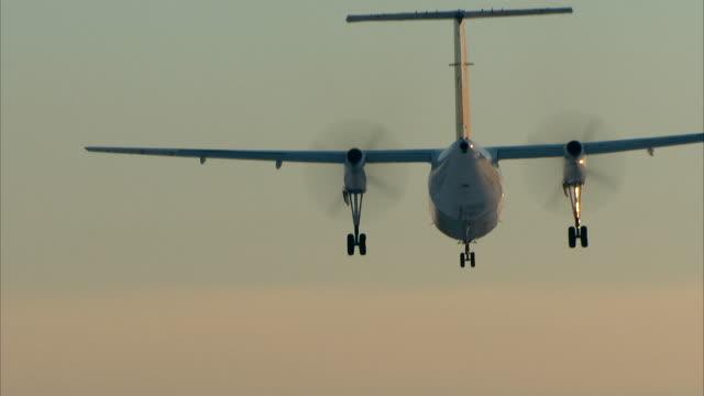 Turboprop-Flugzeug Landung