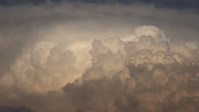 Turbulent clouds erupting into the atmosphere.