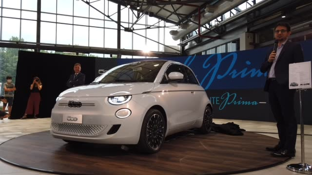 turin, italy 14th july 2020. eligio catarinella, fiat, abarth & lancia italian country manager speaks at the public presentation of a new model of... - alternative fuel vehicle stock videos & royalty-free footage