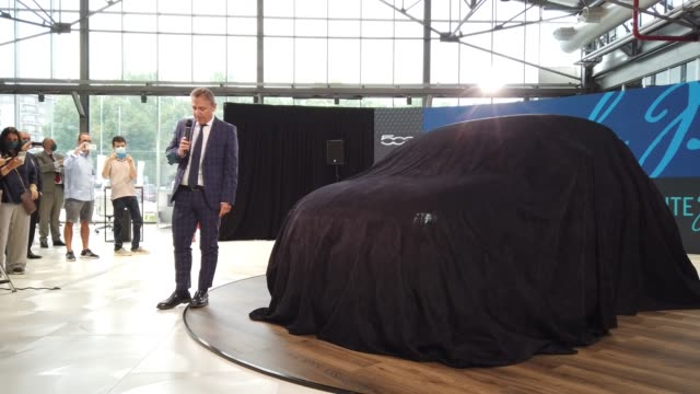 """turin, italy 14th july 2020. massimo dallara head of motor village present the new electric car.the new 5000 is the first """"convertible"""", first... - alternative fuel vehicle stock videos & royalty-free footage"""