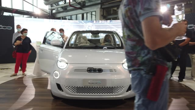 """turin, italy 14th july 2020. the new 5000 is the first """"convertible"""", first four-seater, zero-co2 of fca group. it's a real heir to the model which... - alternative fuel vehicle stock videos & royalty-free footage"""