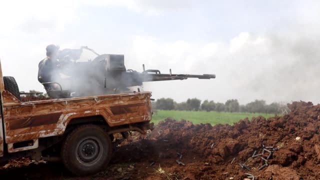 turkey backed syrian rebels launched wednesday morning from idlib province an offensive to retake the town of jandairis near the turkish border from... - people's protection units stock videos & royalty-free footage