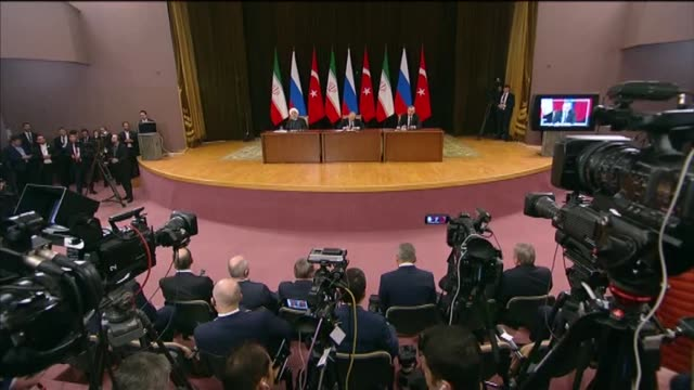 turkey does not want new humanitarian crisis to arise in syria president recep tayyip erdogan said on thursday we do not want a new humanitarian... - summit meeting stock videos and b-roll footage