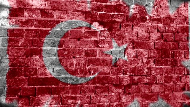 Turkey Flag Grunge Wall. 4k