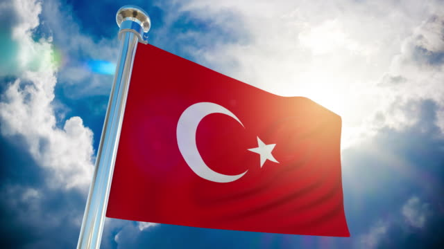 stockvideo's en b-roll-footage met 4k-turkije vlag   loop bare stock video - paalzitten