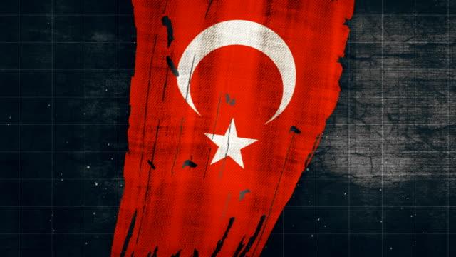 vidéos et rushes de 4k turquie grunge drapeau - drapeau turc