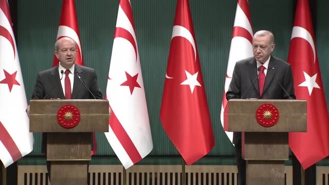 """turkey is in favor of a fair, permanent, sustainable solution on cyprus, turkey's president said on monday. """"the efforts of the turkish side alone... - grecia stato video stock e b–roll"""
