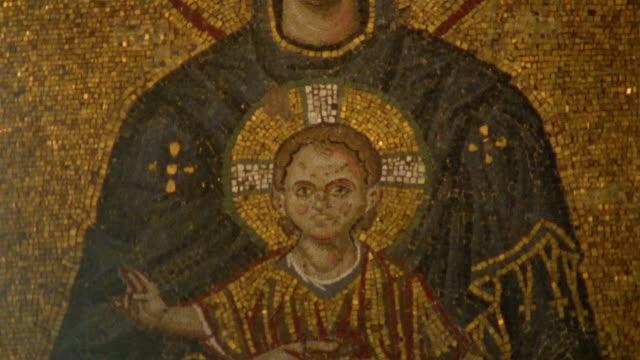 cu, tu, turkey, istanbul, hagia sophia, comnenos mosaic - female likeness stock videos & royalty-free footage