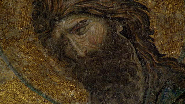 cu, turkey, istanbul, hagia sophia, john the baptist  in deesis mosaics - baptist stock videos & royalty-free footage