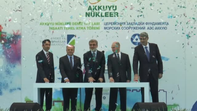 vídeos y material grabado en eventos de stock de turkey launched the construction of its first nuclear power plant akkuyu a $20 billion project for a greater energy selfsufficiency in mersin... - autosuficiencia