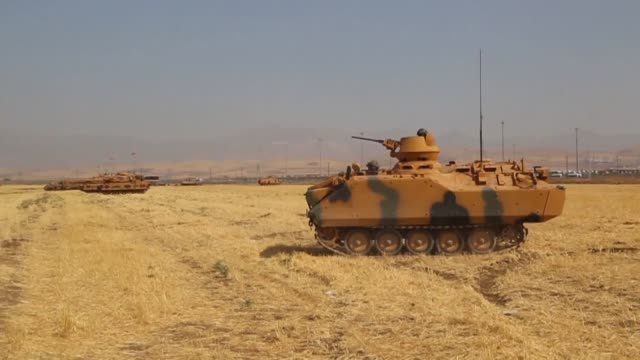 turkey launches a military drill featuring tanks close to the iraqi border the army says a week before iraq's kurdish region will hold an... - silopi stock videos and b-roll footage