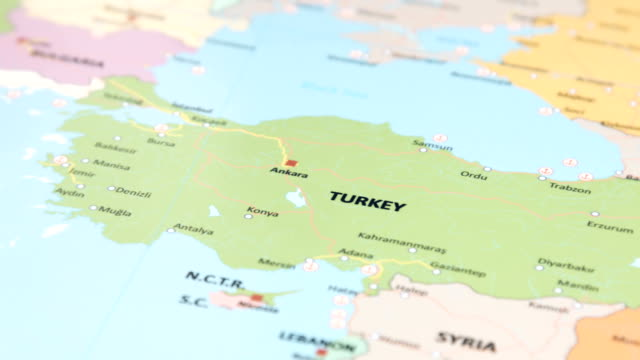 europe,asia turkey on world map - turchia video stock e b–roll