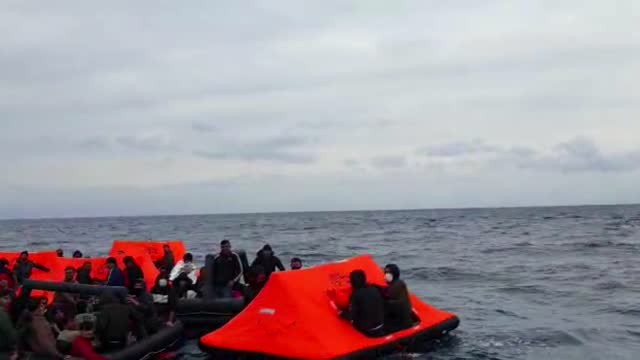 turkey rescued wednesday at least 158 asylum seekers who were pushed back by the greek coast guard into turkish territorial waters in the aegean sea,... - greece stock videos & royalty-free footage