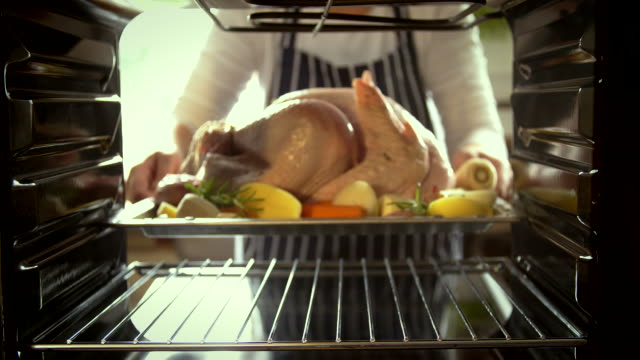 turkey roasting in the oven - 4k video - oven mitt stock videos and b-roll footage