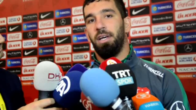 turkey's arda turan speaks to the media after the uefa euro 2016 qualifying round group a soccer match with iceland at torku arena in konya turkey on... - konya stock videos and b-roll footage