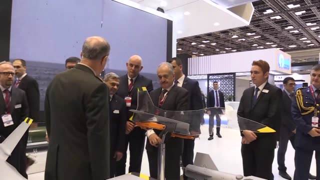 turkey's chief of general staff gen. hulusi akar visits the doha international maritime defense exhibition and conference in doha, qatar on march 12,... - exhibition stock videos & royalty-free footage