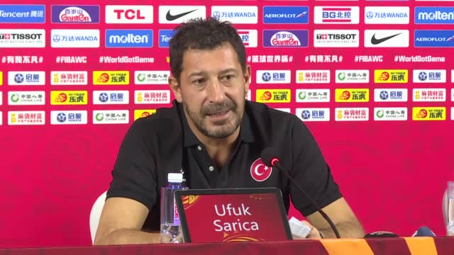 turkey's coach ufuk sarica and player metecan birsen hold a press conference following turkey won their first game in the classification round 1732... - fourth quarter sport stock videos & royalty-free footage