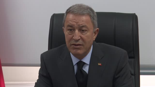 vídeos de stock e filmes b-roll de turkey's defense minister is carrying out an inspection of troops deployed along the country's border with syria, the defense ministry said on... - cargo governamental