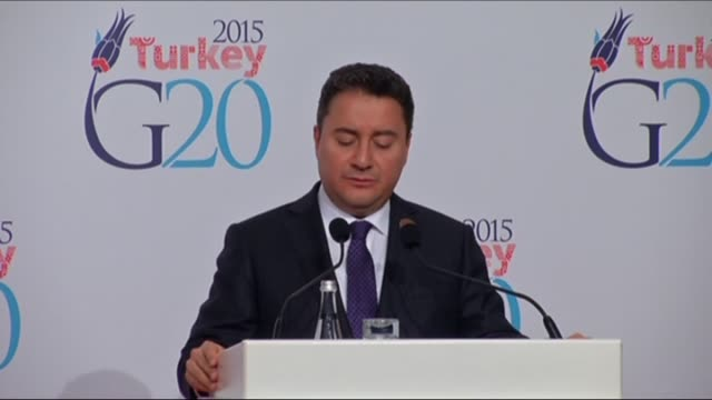 turkey's deputy prime minister ali babacan holds a press conference on the last day of the g20 finance ministers and central bank governors meeting... - schlußtag stock-videos und b-roll-filmmaterial