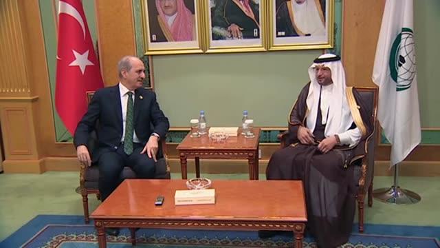 vídeos de stock, filmes e b-roll de turkey's deputy prime minister numan kurtulmus meets with yusuf bin ahmad al useymim, newly-elected secretary general of organisation of islamic... - jiddah