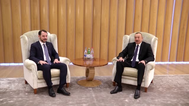 turkey's energy and natural resources minister berat albayrak meets with azerbaijani president ilham aliyev in baku azerbaijan on february 15 2018 - minister president stock videos and b-roll footage