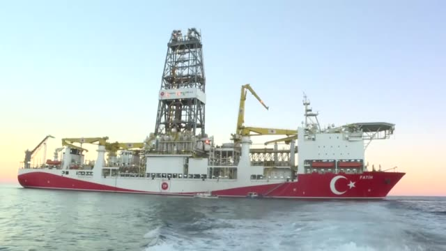 turkey's energy and natural resources minister fatih donmez speaks at the launch ceremony of the turkish drilling vessel fatih on october 30 2018 in... - mediterranean turkey stock videos and b-roll footage