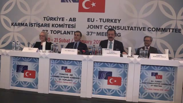 Turkey's EU Affairs Minister Omer Celik speaks at the 37th meeting of the EUTurkey Joint Consultative Committee on February 20 2018 in Adana Turkey...