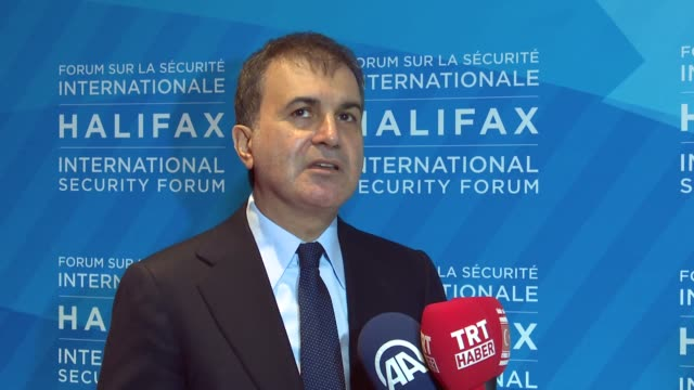 Turkey's EU Minister Omer Celik speaks to press on the last day of the 9th Halifax International Security Forum in Halifax Canada on November 19 2017