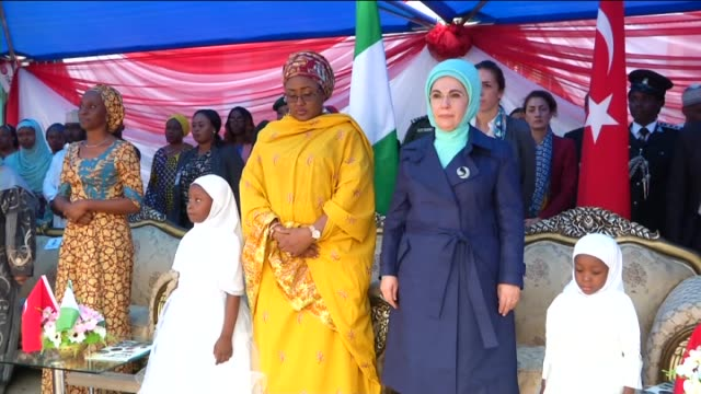 turkey's first lady emine erdogan and nigerian first lady aisha buhari attend the opening ceremony of an orphanage which has been reconstructed by... - first lady stock videos & royalty-free footage