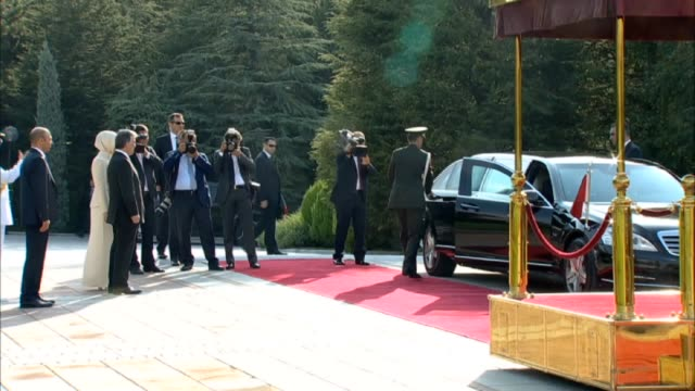 Turkey's first popularly elected president Recep Tayyip Erdogan arrives Cankaya Presidential Palace for taking over the presidency from 11th Turkish...