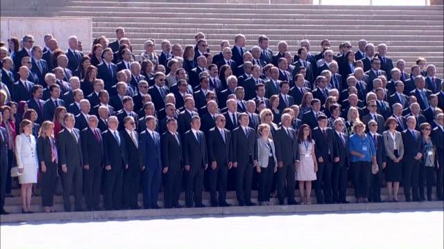 turkey's foreign minister mevlut cavusoglu accompanied by turkish ambassadors visits anitkabir the mausoleum of turkish republic founder mustafa... - mausoleum stock videos and b-roll footage