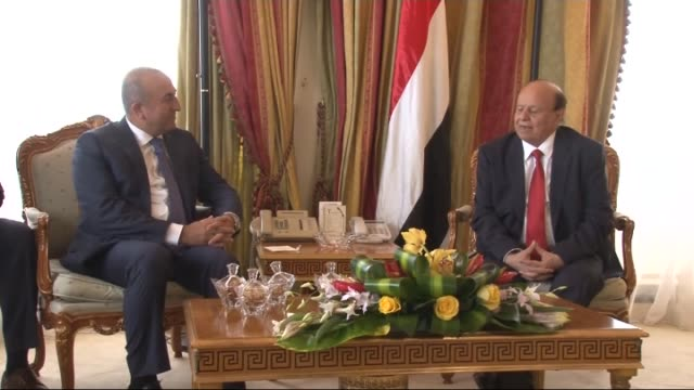 turkey's foreign minister mevlut cavusoglu and yemeni president abd-rabbuh mansour hadi hold a meeting during the extraordinary meeting of the oic... - jiddah stock videos & royalty-free footage