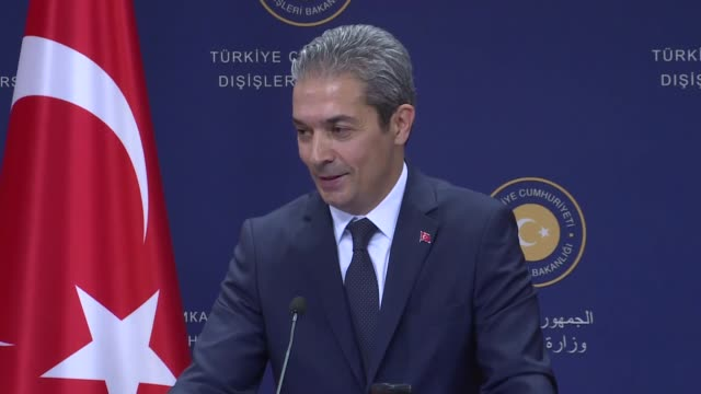 Turkey's Foreign Ministry spokesman Hami Aksoy speaks to the press in Ankara Turkey on May 25 2018 On Wednesday the Greek Council of State approved...