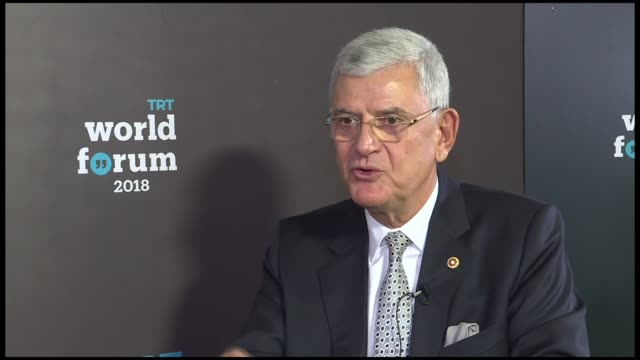 Turkey's former EU affairs minister and current head of parliament's Foreign Affairs Committee Volkan Bozkir speaks during an exclusive interview...