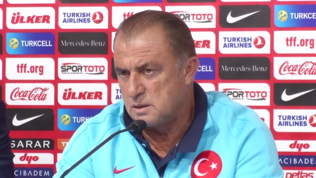 turkey's head coach fatih terim speaks during a press conference next to his player sener ozbayrakli in zagreb croatia on september 04 2016 turkey... - world cup qualifying round stock videos and b-roll footage