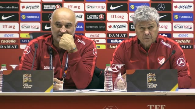 Turkey's head coach Mircea Lucescu holds a press conference following the UEFA Nations League B Group 2 football match between Turkey and Sweden at...