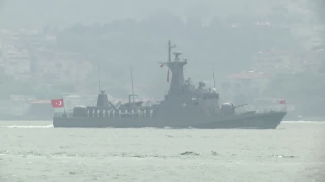turkey's largest military exercise sea wolf 2019 continues in bosphorus on may 25, 2019. the exercise, supervised by the turkish navy, will run... - warship stock videos & royalty-free footage